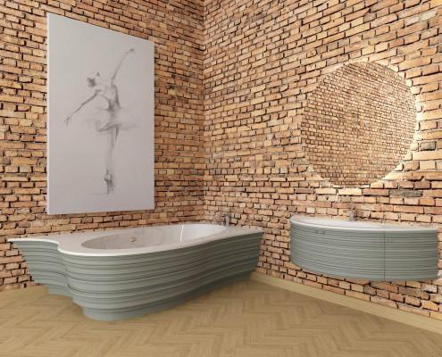 Akmens masas vanna Estia Individual, Ванна из каменной массы Estia Individual, Stone cast bathtub Estia Individual