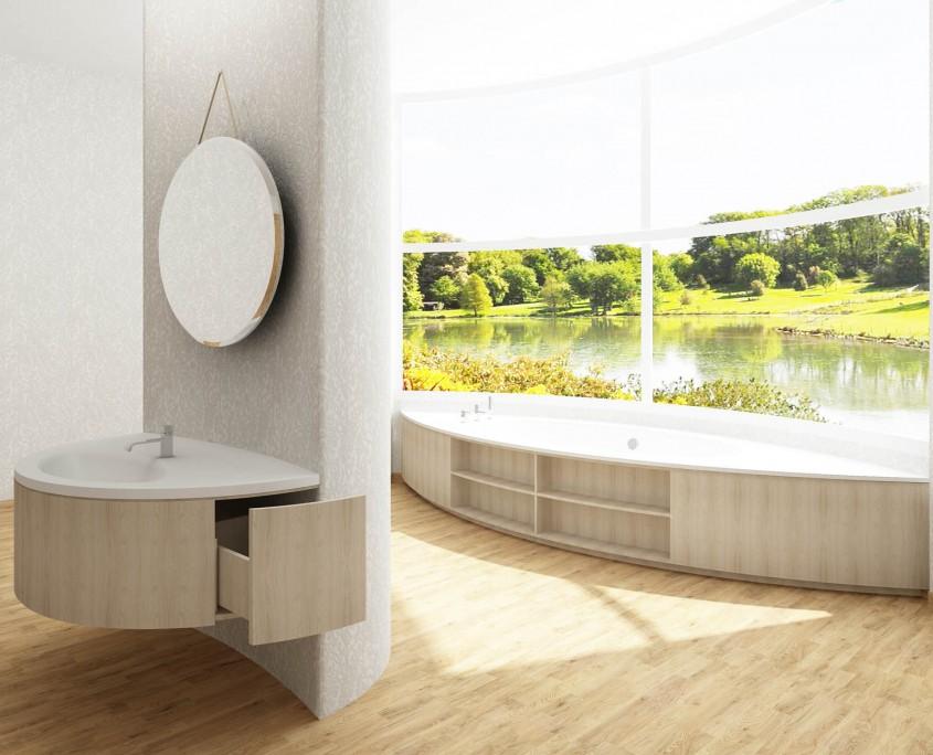 Bathtub design, Akmens masas vanna Estia Individual, Stone cast bath Estia Individual
