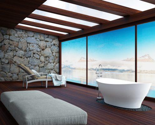 Freestanding bathtub Demetra - cast stone handmade bathtub by AURA