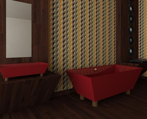 Red design Bathroom